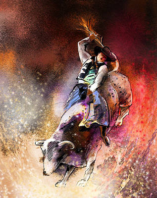 Steer Painting - Rodeoscape 01 by Miki De Goodaboom