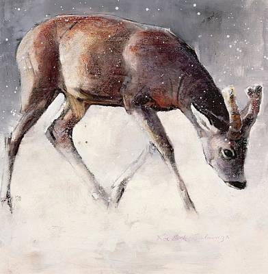 Wildlife Landscape Painting - Roe Buck - Winter by Mark Adlington