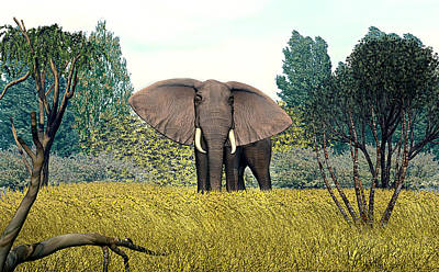 Digital Art - Rogue Elephant by Walter Colvin