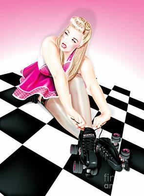 Digital Art - Roller Skate Pinup by Brian Gibbs