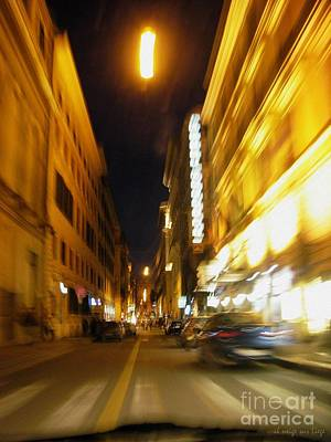 Photograph - Roma Notturna Dall'auto In Corsa by Mariana Costa Weldon
