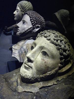 Roman Death Masks Recovered Print by Richard Nowitz