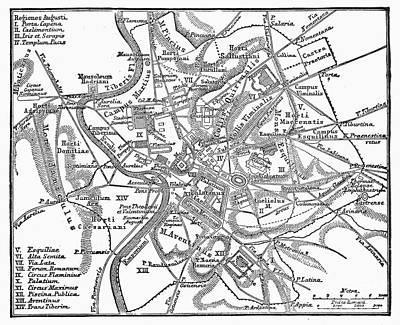 1st Century B.c Photograph - Roman Empire: Map Of Rome by Granger