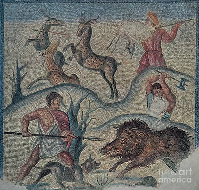 Hunting Party Photograph - Roman Hunting Party, 2nd Century Bc by Photo Researchers