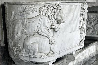 Cremation Photograph - Roman Marble Sarcophagus by Sheila Terry