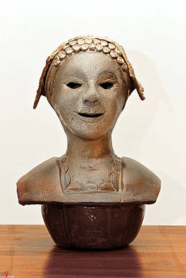 Sculpture - Roman Mask Torso Lady With Head Cover Face Eyes Large Nose Mouth Shoulders by Rachel Hershkovitz