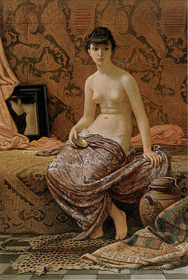 Partial Nude Painting - Roman Model Posing by Elihu Vedder