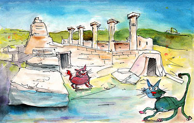 Cyprus Cats Drawing - Romance In Paphos by Miki De Goodaboom