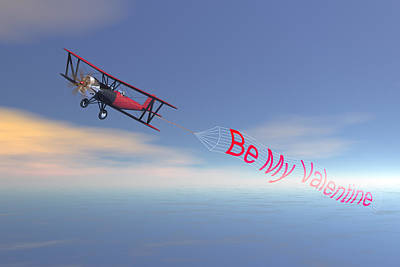 Bi Plane Digital Art - Romance In The Air  by Carol and Mike Werner