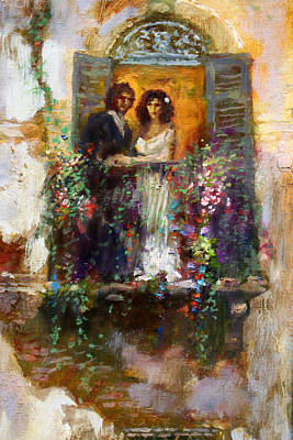 Couple Painting - Romance In Venice  Fragment Balcony by Ylli Haruni