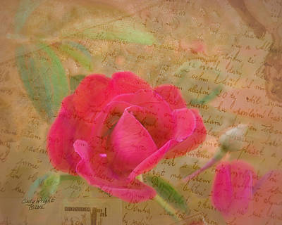 Romantic Rose Notes Art Print by Cindy Wright