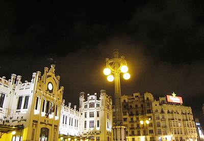 Photograph - Romantic Valencia Side Street Lights At Night II Spain by John Shiron