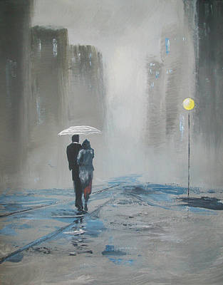 Romantic Walk In The Rain Art Print