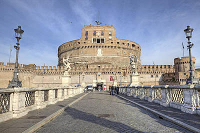 Statue Bridge Photograph - Rome - Castel Sant'angelo by Joana Kruse
