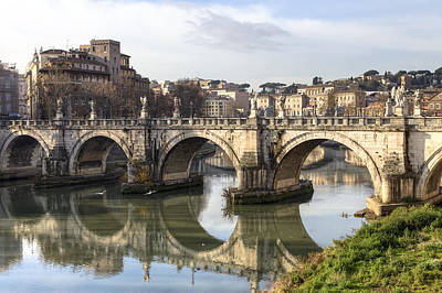 Statue Bridge Photograph - Rome - Ponte Sant'angelo by Joana Kruse