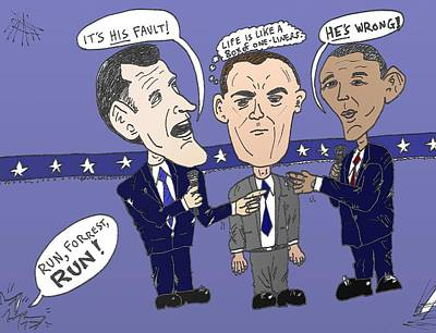 Barack Obama Mixed Media - Romney Obama Gump Editorial Cartoon by OptionsClick BlogArt