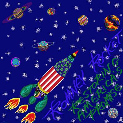 Painting - Romney Rocket - Restoring America's Promise by Robert SORENSEN
