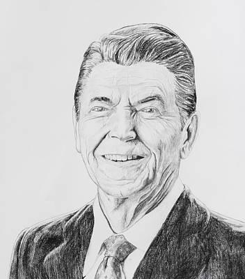 Pencil Portrait Drawing - Ronald Reagan by Daniel Young