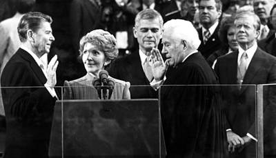 Swearing In Photograph - Ronald Reagan Sworn In As President by Everett