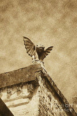 Fiend Digital Art - Rooftop Chained Gargoyle Statue Above French Quarter New Orleans Vintage Digital Art by Shawn O'Brien