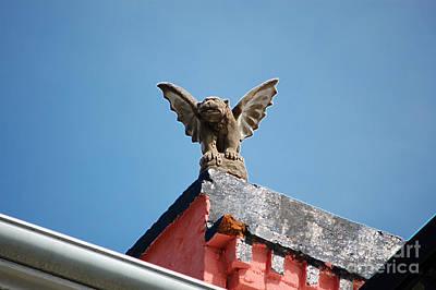Digital Art - Rooftop Gargoyle Statue Above French Quarter New Orleans Accented Edges Digital Art by Shawn O'Brien