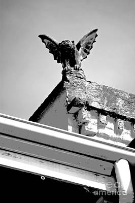 Fiend Digital Art - Rooftop Gargoyle Statue Above French Quarter New Orleans Black And White Conte Crayon Digital Art by Shawn O'Brien