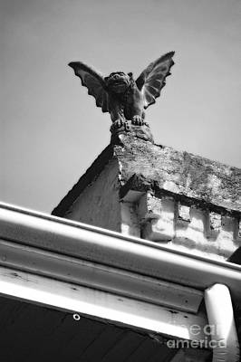 Fiend Digital Art - Rooftop Gargoyle Statue Above French Quarter New Orleans Black And White Diffuse Glow Digital Art by Shawn O'Brien