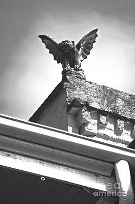 Fiend Digital Art - Rooftop Gargoyle Statue Above French Quarter New Orleans Black And White Film Grain Digital Art by Shawn O'Brien