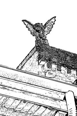 Digital Art - Rooftop Gargoyle Statue Above French Quarter New Orleans Black And White Stamp Digital Art by Shawn O'Brien