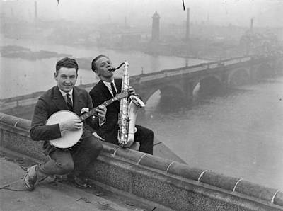 Saxophonist Photograph - Rooftop Jam by Topical Press Agency