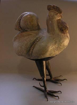 Sculpture - Rooster 2 Bronze Legs And Ceramics Body Sculpture by Rachel Hershkovitz