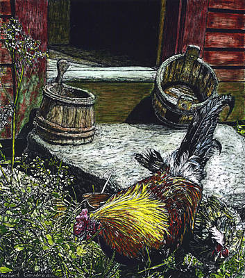 Scratchboard Painting - Rooster And A Hen by Robert Goudreau