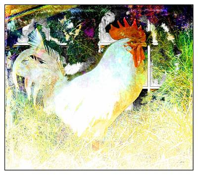 Barnyard Digital Art - Rooster At The Cottage by Kevin Moore