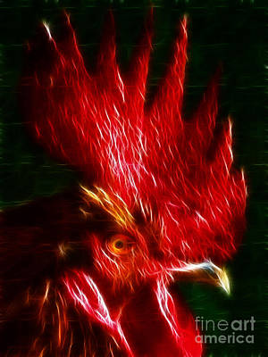 Chicken Digital Art - Rooster - Electric by Wingsdomain Art and Photography