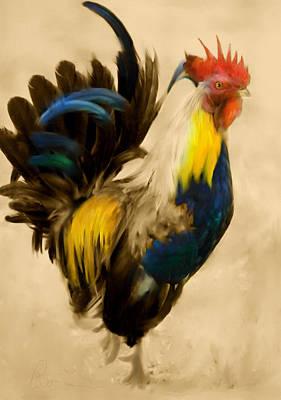 Blue Digital Art - Rooster On The Prowl 2 - Vintage Tonal by Georgiana Romanovna