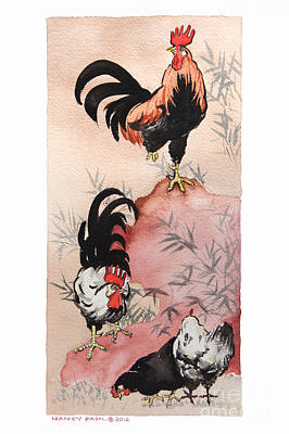 Bamboo Farm Painting - Roosters And Hens Sumi-e Style by Nancy Pahl
