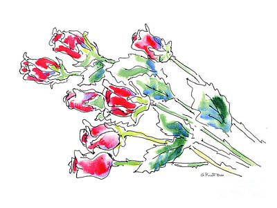 Painting - Rose 6 Floral Watercolor by Gordon Punt