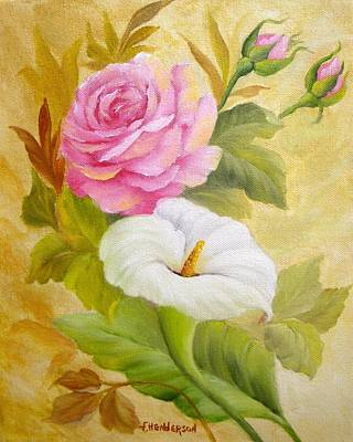 Painting - Rose And Calla Lily by Francine Henderson