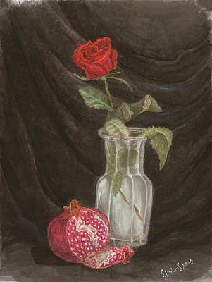 Painting - Rose And Pomegranate by Svetlana  Jenkins