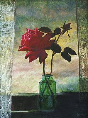 Rose And Rosebud Art Print by Laurie Stewart
