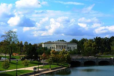 Art Print featuring the photograph Rose Garden And Hoyt Lake by Michael Frank Jr