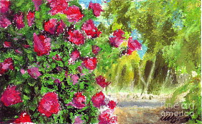 Oklahoma Drawing - Rose Garden by Iris M Gross