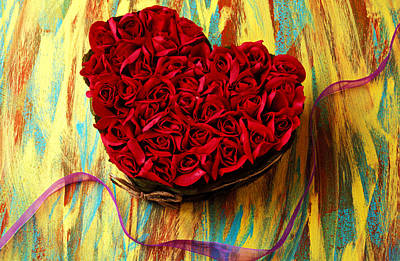 Rose Heart And Ribbon Art Print by Garry Gay
