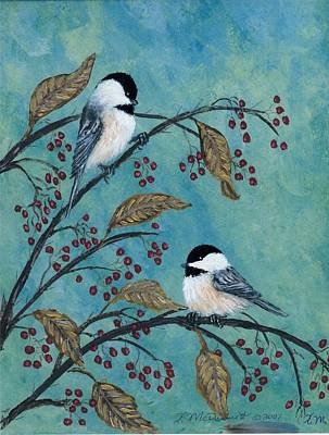 Rose Hip Chickadees Art Print