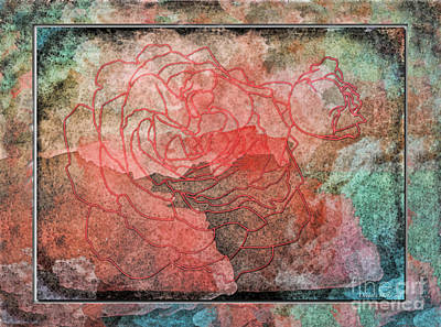 Rose Outline Abstract Art Print by Debbie Portwood