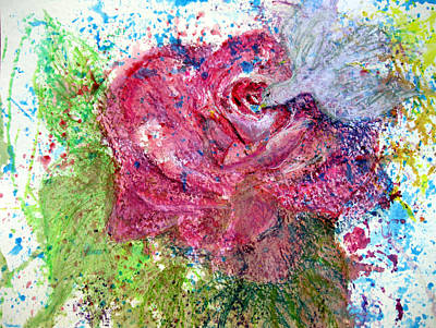 Mixed Media - Rose Visited by Sarah Hornsby