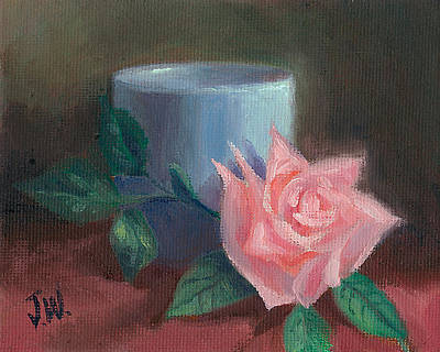 Art Print featuring the painting Rose With Blue Cup by Joe Winkler