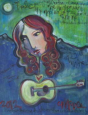 Painting - Roseanne Cash by Laurie Maves ART