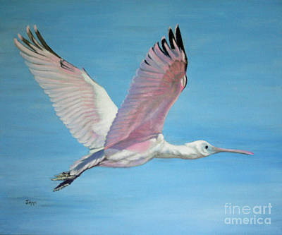 Art Print featuring the painting Roseate Spoonbill In Full Flight by Jimmie Bartlett