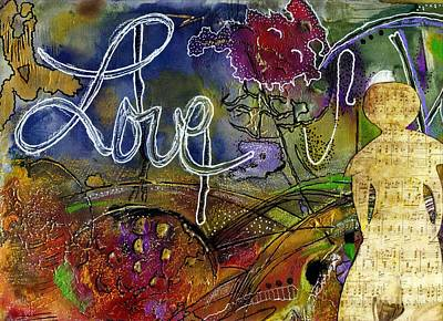 Mixed Media - Rosebud Sings A Sweet Love Lullaby by Angela L Walker